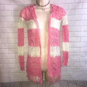 Pink and white CROCHET cardigan